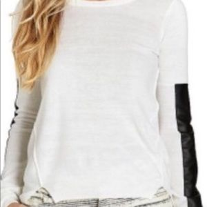 BCBGeneration White  Faux Leather Sweater M